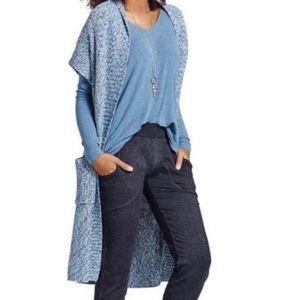 Cabi Blue Knit Napa Long Duster Cardigan Sweater